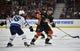January 25, 2018; Anaheim, CA, USA; Anaheim Ducks defenseman Hampus Lindholm (47) controls the puck against Winnipeg Jets center Mathieu Perreault (85) during the first period at Honda Center. Mandatory Credit: Gary A. Vasquez-USA TODAY Sports