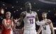 Jan 27, 2018; Tucson, AZ, USA; Arizona Wildcats forward Deandre Ayton (13) reacts to a call as Utah Utes forward Jayce Johnson (34) celebrates during the first half at McKale Center. Mandatory Credit: Casey Sapio-USA TODAY Sports