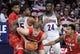 Jan 27, 2018; Tucson, AZ, USA; Utah Utes forward Jayce Johnson (34) looks to pass as Arizona Wildcats guard Brandon Randolph (5) defends during the first half at McKale Center. Mandatory Credit: Casey Sapio-USA TODAY Sports