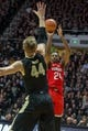 Feb 7, 2018; West Lafayette, IN, USA; Ohio State Buckeyes forward Andre Wesson (24) shoots the ball over Purdue Boilermakers center Isaac Haas (44) in the second half at Mackey Arena. Mandatory Credit: Trevor Ruszkowski-USA TODAY Sports