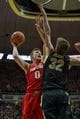 Feb 7, 2018; West Lafayette, IN, USA; Ohio State Buckeyes center Micah Potter (0) shoots the ball while Purdue Boilermakers forward Matt Haarms (32) defends in the second half at Mackey Arena. Mandatory Credit: Trevor Ruszkowski-USA TODAY Sports
