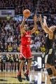 Feb 7, 2018; West Lafayette, IN, USA; Ohio State Buckeyes guard C.J. Jackson (3) shoots the ball over Purdue Boilermakers guard Carsen Edwards (3) in the second half at Mackey Arena. Mandatory Credit: Trevor Ruszkowski-USA TODAY Sports