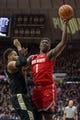 Feb 7, 2018; West Lafayette, IN, USA; Ohio State Buckeyes forward Jae'Sean Tate (1) shoots the ball while Purdue Boilermakers forward Vincent Edwards (12) defends in the second half at Mackey Arena. Mandatory Credit: Trevor Ruszkowski-USA TODAY Sports