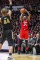 Feb 7, 2018; West Lafayette, IN, USA; Ohio State Buckeyes forward Andre Wesson (24) shoots the ball while Purdue Boilermakers center Isaac Haas (44) defends in the second half at Mackey Arena. Mandatory Credit: Trevor Ruszkowski-USA TODAY Sports