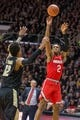Feb 7, 2018; West Lafayette, IN, USA; Ohio State Buckeyes guard Musa Jallow (2) shoots the ball while Purdue Boilermakers forward Vincent Edwards (12) defends in the second half at Mackey Arena. Mandatory Credit: Trevor Ruszkowski-USA TODAY Sports