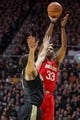 Feb 7, 2018; West Lafayette, IN, USA; Ohio State Buckeyes forward Keita Bates-Diop (33) shoots the ball over Purdue Boilermakers guard Dakota Mathias (31)  in the second half at Mackey Arena. Mandatory Credit: Trevor Ruszkowski-USA TODAY Sports