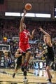Feb 7, 2018; West Lafayette, IN, USA; Ohio State Buckeyes guard C.J. Jackson (3) shoots the ball over Purdue Boilermakers forward Matt Haarms (32) in the second half at Mackey Arena. Mandatory Credit: Trevor Ruszkowski-USA TODAY Sports