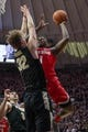Feb 7, 2018; West Lafayette, IN, USA; Ohio State Buckeyes forward Jae'Sean Tate (1) shoots the ball while Purdue Boilermakers forward Matt Haarms (32) defends in the second half at Mackey Arena. Mandatory Credit: Trevor Ruszkowski-USA TODAY Sports