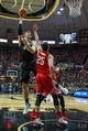 Feb 7, 2018; West Lafayette, IN, USA; Purdue Boilermakers center Isaac Haas (44) shoots the ball over Ohio State Buckeyes forward Kyle Young (25) in the first half at Mackey Arena. Mandatory Credit: Trevor Ruszkowski-USA TODAY Sports