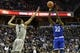 Feb 10, 2018; Washington, DC, USA; Seton Hall Pirates guard Myles Cale (22) shoots as Georgetown Hoyas forward Jamorko Pickett (1) closes to defend during the first half  at Capital One Arena. Mandatory Credit: Tommy Gilligan-USA TODAY Sports