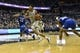 Feb 10, 2018; Washington, DC, USA;  Georgetown Hoyas forward Jamorko Pickett (1) dives to the basket as Seton Hall Pirates guard Myles Powell (13) and  forward Desi Rodriguez (20) defends during the second half at Capital One Arena. Mandatory Credit: Tommy Gilligan-USA TODAY Sports