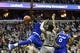 Feb 10, 2018; Washington, DC, USA; Georgetown Hoyas guard Trey Dickerson (13) loose the ball after being fouled by Seton Hall Pirates forward Ismael Sanogo (14) during the second half at Capital One Arena. Mandatory Credit: Tommy Gilligan-USA TODAY Sports