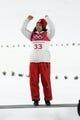 Feb 12, 2018; Pyeongchang, South Korea; Sara Takanashi (JPN) celebrates winning bronze in the women's normal hill during the Pyeongchang 2018 Olympic Winter Games at Alpensia Ski Jumping Centre. Mandatory Credit: James Lang-USA TODAY Sports
