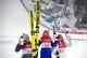Feb 12, 2018; Pyeongchang, South Korea; Katharina Althaus (GER), Maren Lundby (NOR) and Sara Takanashi (JPN) celebrate on the podium after the women's normal hill during the Pyeongchang 2018 Olympic Winter Games at Alpensia Ski Jumping Centre. Mandatory Credit: James Lang-USA TODAY Sports
