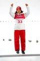 Feb 12, 2018; Pyeongchang, South Korea; Sara Takanashi (JPN) celebrates winning bronze in the women's normal hill during the Pyeongchang 2018 Olympic Winter Games at Alpensia Ski Jumping Centre. Mandatory Credit: Rob Schumacher-USA TODAY Sports