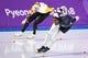 Feb 13, 2018; Pyeongchang, South Korea; Shani Davis (USA) skates against Bart Swings (BEL) in mens 1500m speed skating during the Pyeongchang 2018 Olympic Winter Games at Gangneung Ice Arena. Mandatory Credit: Robert Hanashiro-USA TODAY Sports