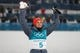 Feb 14, 2018; Pyeongchang, South Korea; Eric Frenzel (GER) celebrates winning gold on the podium after the cross country portion of mens nordic combined during the Pyeongchang 2018 Olympic Winter Games at Alpensia Ski Jumping Centre. Mandatory Credit: Rob Schumacher-USA TODAY Sports