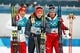 Feb 14, 2018; Pyeongchang, South Korea; Eric Frenzel (GER) celebrates winning gold, Akito Watabe (JPN) celebrates winning silver, and Lukas Klapper (AUT) celebrates winning bronze on the podium after the cross country portion of mens nordic combined during the Pyeongchang 2018 Olympic Winter Games at Alpensia Ski Jumping Centre. Mandatory Credit: Rob Schumacher-USA TODAY Sports