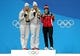 Feb 14, 2018; Pyeongchang, South Korea; Natalie Geisenberger of Germany, Dajana Eitberger of Germany and Alex Gough of Canada celebrate on the podium after during the medals ceremony for the Women's Single Luge in the Pyeongchang 2018 Olympic Winter Games at Medals Plaza. Mandatory Credit: Soobum Im-USA TODAY Sports