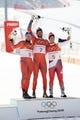 Feb 15, 2018; Pyeongchang, South Korea; From left Kjetil Jansrud (NOR) , Aksel Lund Svindal (NOR) and Beat Feuz (SUI) at the venue victory ceremony after the men's alpine skiing downhill race during the Pyeongchang 2018 Winter Olympic Games at Jeongseon Alpine Centre. Mandatory Credit: Jeffrey Swinger-USA TODAY Sports