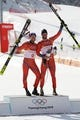 Feb 15, 2018; Pyeongchang, South Korea; Kjetil Jansrud (NOR) and Aksel Lund Svindal (NOR) on the podium at the venue victory ceremony after the men's alpine skiing downhill race during the Pyeongchang 2018 Winter Olympic Games at Jeongseon Alpine Centre. Mandatory Credit: Jeffrey Swinger-USA TODAY Sports