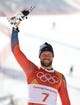 Feb 15, 2018; Pyeongchang, South Korea; Aksel Lund Svindal (NOR) at the venue victory ceremony after the men's alpine skiing downhill race during the Pyeongchang 2018 Winter Olympic Games at Jeongseon Alpine Centre. Mandatory Credit: Jeffrey Swinger-USA TODAY Sports