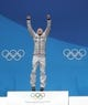 Feb 15, 2018; Pyeongchang, South Korea; Eric Frenzel (GER) celebrates his gold medal during the medals ceremony for the nordic combined individual normal hill/10km cross country event in the Pyeongchang 2018 Olympic Winter Games at Medals Plaza. Mandatory Credit: Geoff Burke-USA TODAY Sports