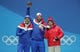 Feb 15, 2018; Pyeongchang, South Korea; Gold medalist Aksel Lund Svindal (NOR), silver medalist Kjetil Jansrud (NOR) and bronze medlaist Beat Feuz (SUI) during the medals ceremony for the men's alpine skiing downhill race in the Pyeongchang 2018 Olympic Winter Games at Medals Plaza. Mandatory Credit: Geoff Burke-USA TODAY Sports