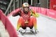 Feb 15, 2018; Pyeongchang, South Korea; Natalie Geisenberger (GER) in team relay luge competition during the Pyeongchang 2018 Olympic Winter Games at Olympic Sliding Centre. Mandatory Credit: Soobum Im-USA TODAY Sports
