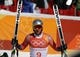 Feb 16, 2018; Pyeongchang, South Korea; Aksel Lund Svindal (NOR) reacts in the finish area for the men's alpine skiing super G during the Pyeongchang 2018 Olympic Winter Games at Jeongseon Alpine Centre. Mandatory Credit: Jeff Swinger-USA TODAY Sports