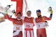 Feb 16, 2018; Pyeongchang, South Korea; Medalists from left Beat Feuz (SUI) , Matthias Mayer (AUT) and Kjetil Jansrud (NOR) on the podium at the venue victory ceremony for the men's alpine skiing super G during the Pyeongchang 2018 Olympic Winter Games at Jeongseon Alpine Centre. Mandatory Credit: Jeff Swinger-USA TODAY Sports