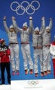 Feb 16, 2018; Pyeongchang, South Korea; Team Germany, consisting of Natalie Geisenberger (GER), Johannes Ludwig (GER), Tobias Arlt (GER) and Tobias Wendl (GER), celebrate winning the gold medal in the luge relay team event during the medals ceremony in the Pyeongchang 2018 Olympic Winter Games at Medals Plaza. Mandatory Credit: Dan Powers-USA TODAY Sports
