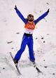Feb 16, 2018; Pyeongchang, South Korea; Mengtao Xu (CHN) in the women's freestyle ski aerials finals during the Pyeongchang 2018 Olympic Winter Games at Phoenix Snow Park. Mandatory Credit: Jack Gruber-USA TODAY Sports