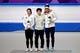 Feb 18, 2018; Pyeongchang, South Korea; Sang-Hwa Lee (KOR), Nao Kodaira (JPN) and Karolina Erbanova (CZE) celebrate on the podium after the women   s speed skating 500m during the Pyeongchang 2018 Olympic Winter Games at Gangneung Ice Arena. Mandatory Credit: Mark Hoffman-USA TODAY Sports