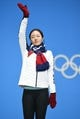 Feb 20, 2018; Pyeongchang, South Korea; Sang-Hwa Lee (KOR) celebrates winning the silver medal in the speed skating 500m event during the medals ceremony in the Pyeongchang 2018 Olympic Winter Games at Medals Plaza. Mandatory Credit: Kelvin Kuo-USA TODAY Sports