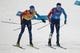 Feb 22, 2018; Pyeongchang, South Korea; Maxime Laheurte (FRA) tags Jason Lamy Chappuis (FRA) in the nordic combined mens team large hill and 4x5km ski jumping event during the Pyeongchang 2018 Olympic Winter Games at Alpensia Ski Jumping Centre. Mandatory Credit: Matt Kryger-USA TODAY Sports
