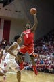Feb 23, 2018; Bloomington, IN, USA; Ohio State Buckeyes forward Jae'Sean Tate (1) shoots the ball while Indiana Hoosiers forward Justin Smith (3) defends in the second half at Assembly Hall. Mandatory Credit: Trevor Ruszkowski-USA TODAY Sports