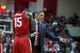 Feb 23, 2018; Bloomington, IN, USA; Ohio State Buckeyes head coach Chris Holtmann talks with guard Kam Williams (15) during a timeout in the second half against the Indiana Hoosiers at Assembly Hall. Mandatory Credit: Trevor Ruszkowski-USA TODAY Sports