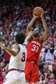 Feb 23, 2018; Bloomington, IN, USA; Ohio State Buckeyes forward Keita Bates-Diop (33) shoots the ball over a defending Indiana Hoosiers forward Justin Smith (3) in the second half at Assembly Hall. Mandatory Credit: Trevor Ruszkowski-USA TODAY Sports