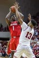 Feb 23, 2018; Bloomington, IN, USA; Ohio State Buckeyes forward Jae'Sean Tate (1) shoots the ball while Indiana Hoosiers forward Juwan Morgan (13) defends in the second half at Assembly Hall. Mandatory Credit: Trevor Ruszkowski-USA TODAY Sports