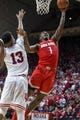 Feb 23, 2018; Bloomington, IN, USA; Ohio State Buckeyes forward Jae'Sean Tate (1) shoots the ball while Indiana Hoosiers forward Juwan Morgan (13) defends in overtime at Assembly Hall. Mandatory Credit: Trevor Ruszkowski-USA TODAY Sports