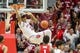 Feb 23, 2018; Bloomington, IN, USA; Indiana Hoosiers forward Juwan Morgan (13) slam dunks the ball in overtime against the Ohio State Buckeyes at Assembly Hall. Mandatory Credit: Trevor Ruszkowski-USA TODAY Sports