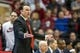 Feb 23, 2018; Bloomington, IN, USA; Indiana Hoosiers head coach Archie Miller argues a foul in the first half against the Ohio State Buckeyes at Assembly Hall. Mandatory Credit: Trevor Ruszkowski-USA TODAY Sports
