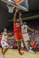 Feb 23, 2018; Bloomington, IN, USA; Ohio State Buckeyes forward Kaleb Wesson (34) shoots against Indiana Hoosiers forward Freddie McSwain Jr. (21) in the second half at Assembly Hall. Mandatory Credit: Trevor Ruszkowski-USA TODAY Sports