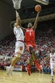 Feb 23, 2018; Bloomington, IN, USA; Ohio State Buckeyes forward Jae'Sean Tate (1) shoots against Indiana Hoosiers forward Justin Smith (3) in the second half at Assembly Hall. Mandatory Credit: Trevor Ruszkowski-USA TODAY Sports