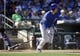 Mar 14, 2018; Surprise, AZ, USA; Chicago Cubs first baseman Anthony Rizzo (44) hits a two run single in the fifth inning against the Kansas City Royals at Surprise Stadium. Mandatory Credit: Rick Scuteri-USA TODAY Sports
