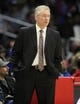 March 27, 2018; Los Angeles, CA, USA; Milwaukee Bucks head coach Joe Prunty watches game action against the Los Angeles Clippers during the first half at Staples Center. Mandatory Credit: Gary A. Vasquez-USA TODAY Sports