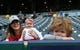 Apr 13, 2018; Kansas City, MO, USA; Los Angeles Angels fans pose for a photo before the game against the Kansas City Royals at Kauffman Stadium. Mandatory Credit: Jay Biggerstaff-USA TODAY Sports