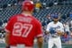 Apr 13, 2018; Kansas City, MO, USA; Kansas City Royals starting pitcher Jason Hammel (39) looks to Los Angeles Angels center fielder Mike Trout (27) at third base during the first inning at Kauffman Stadium. Mandatory Credit: Jay Biggerstaff-USA TODAY Sports