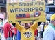 Apr 27, 2018; Nashville, TN, USA; Nashville Predators fan Kris Kane holds a sign prior to game one of the second round of the 2018 Stanley Cup Playoffs against the Winnipeg Jets at Bridgestone Arena. Mandatory Credit: Christopher Hanewinckel-USA TODAY Sports